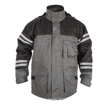 100%  polyester grey with black Winter Jacket
